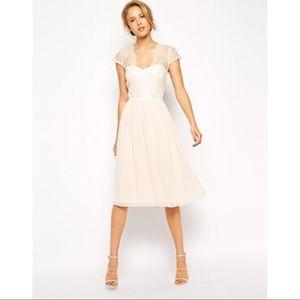 ASOS Cream Scallop Lace Midi Dress Size 12